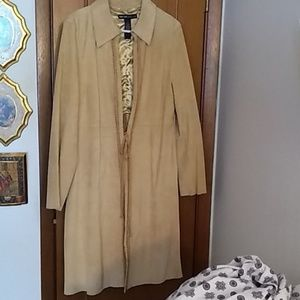 Suede long coat size 16